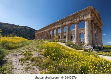 Ruins of Greek temple in ancient city of Segesta, Sicily, Italy