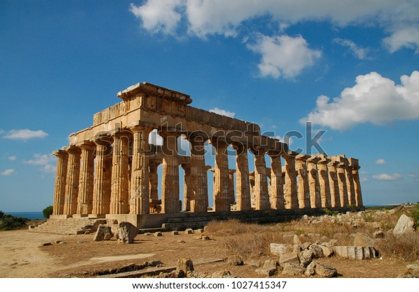 Ruins of a Greek temple in Sicily