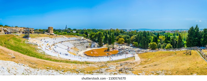 Ruins of the Greek theatre in Syracuse, Sicily, Italy