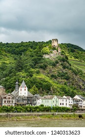 The ruins of the Gutenfels Castle is on a hill above the Rhine River and the village of Kaub, Germany