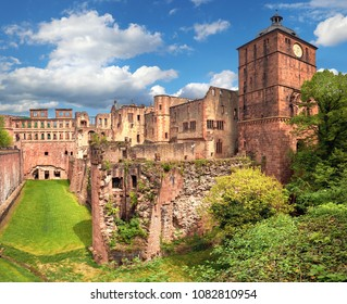 Ruins of Heidelberg Castle (Heidelberger Schloss) in Spring, panoramic image
