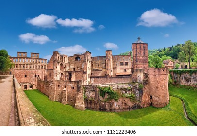 Ruins of Heidelberg Castle (Heidelberger Schloss) in Spring. This panoramic image was made in Heidelberg, Germany.
