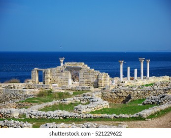 Ruins of Hersones, ancient greece settlement on Crimea. Chersonesus ruins, archaeological park, Sevastopol, Crimea