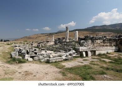 Ruins in Hierapolis Ancient City, Pamukkale, Turkey