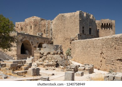 ruins of the historic Castle of the Acropolis of Lindos at Rhodes in Greece