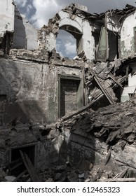 Ruins of historic historic house of Massons. Ruined house. old historical ramshackle house was destroyed after violent storm and earthquake. Odessa, 2017.  ruins of historic residential building