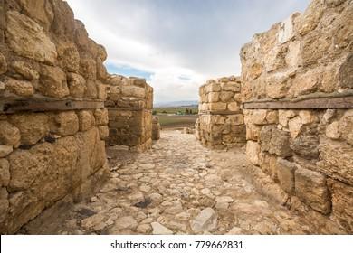 Ruins of historic Tel Megiddo, Jizreel Valley, Israel