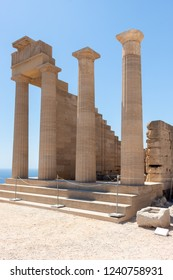 Ruins of an historic temple at the Acropolis of Lindos at Rohdes in Greece