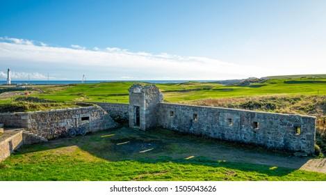 Ruins of historical Torry Battery landmark at Aberdeen city, Scotland