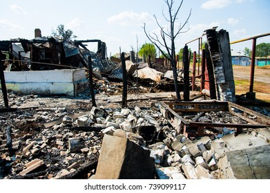 Ruins of house after big disaster - fire