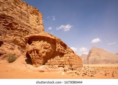 The ruins of Lawrence's House in Wadi Rum desert, Jordan