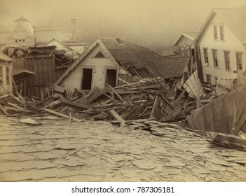 Ruins of houses after the Johnstown Flood, of May 31, 1889. The building is identified as the house of George Hamilton, Assistant Superintendent of the Cambria Iron Mills