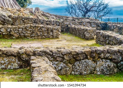 Ruins Of The Houses Inside The Walls Dated In The Iron Age In The 3rd Century BC In The Castro Veton De El Freillo. December 15, 2018. El Raso Avila Castilla Leon Spain Europe. Travel Tourism