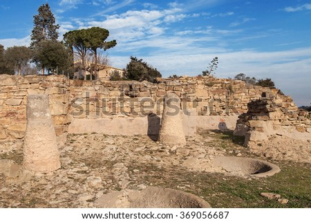 Ruins of the iberian settlement of Ullastret in Girona, Catalonia.