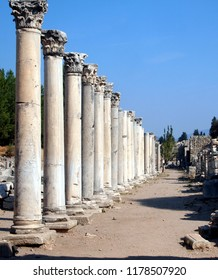 Ruins of an important ancient street in the city of Ephesus (current Turkey). A row of tall Corinthian columns on the left is well preserved. Unesco World Heritage site.