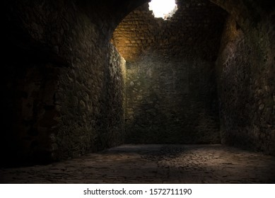Ruins of An impressive construction  from XVIII century, tunnels, vaults, bridges, dungeons, mills, ovens. at the Hacienda of Santa Maria Regla in Huasca Mexican Town