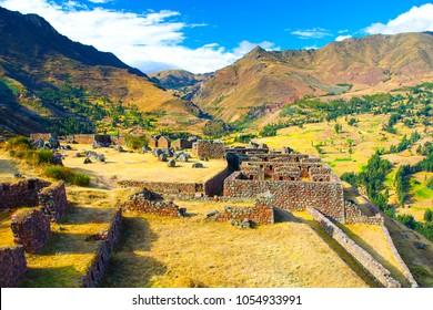Ruins of Incan fortress Pisaq, Urubamba Valley, Peru