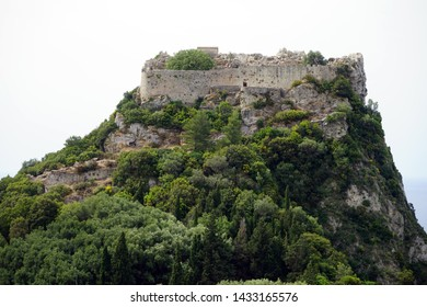 Ruins inside Angelokastro fortress on the west coast of Corfu island, Greece
