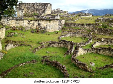 The Ruins Inside Kuelap Archaeological Site with Many of Ancient Stone Round Houses, Amazonas Region in Northern Peru, South America