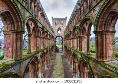 Ruins of Jedburgh Abbey in the Scottish Borders region in Scotland.