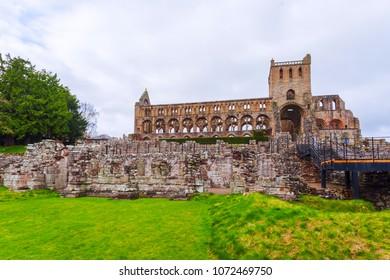 Ruins of Jedburgh Abbey in the Scottish Borders region in Scotland.