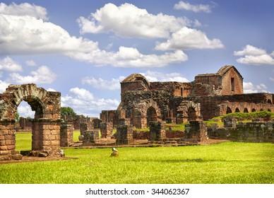 Ruins of the Jesuit Guarani reduction La Santisima Trinidad de Parana, UNESCO World Heritage Site, Paraguay, South America