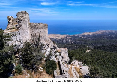 The ruins of Kantara Castle high in the mountains of Karpasia in the northeast of Cyprus in the TRNC (Turkish Republic of Northern Cyprus).
