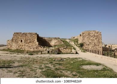 Ruins of the Kerak Castle, a large crusader castle in Kerak (Al Karak) in Jordan