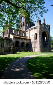 The ruins of Kirkstall Abbey in Leeds. The Abbey was left in ruins after the Disssolution of the Monasteries under King Henry VIII