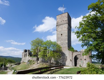 The ruins of the Koenigstein Castle, dating in parts around 800 years old. Koenigstein is located in the Taunus hills and is a attractive commuter town from Frankfurt.