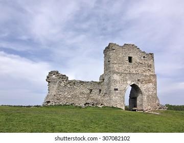 The ruins of the Kremenets castle on the Bona mountain. Kremenets, Ternopil region, Ukraine