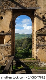 Ruins of Kuskuam, a palace built for Empress Mentewab in the early 18th century on a hill top near Gondar, Ethiopia