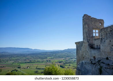 Ruins of the Lacoste Castle one of the home of the Sade marquis, Luberon, Vaucluse, France.