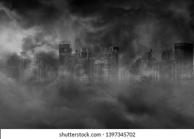 The ruins of a large city building are covered with smoke from the civil war and the city abandonment, concept of war