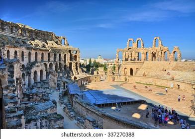 Ruins of the largest coliseum in North Africa. El Jem,Tunisia, UNESCO, HDR