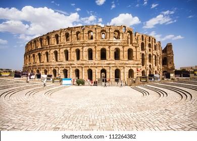 Ruins of the largest colosseum in North Africa. El Jem,Tunisia. UNESCO