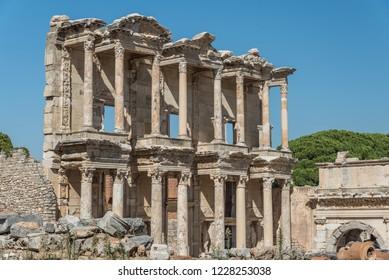 The ruins of the Library of Celsus, Ephesus, Selçuk, Turkey