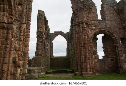 Ruins of Lindisfarne Priory on the Holy Island in Northumberland