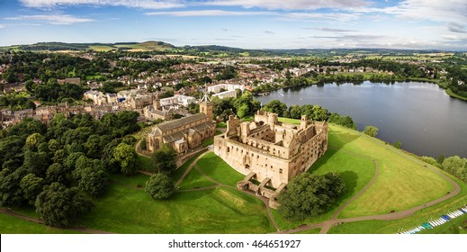 The ruins of Linlithgow Palace and St. Michael's church from the air. Linlithgow, West Lothian, Scotland.