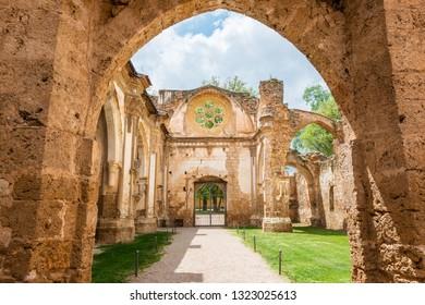 Ruins of the main church of the XIII Century Monasterio de Nuestra Señora de Piedra (Monastery of our Lady of Stone) in Aragon, Spain.