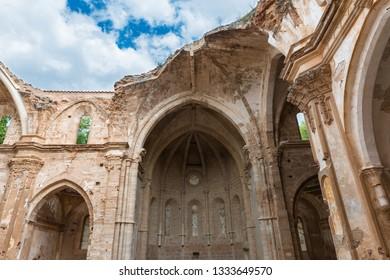 Ruins of the main church of the XIII Century Monasterio de Nuestra Senora de Piedra (Monastery of our Lady of Stone) in Aragon, Spain.
