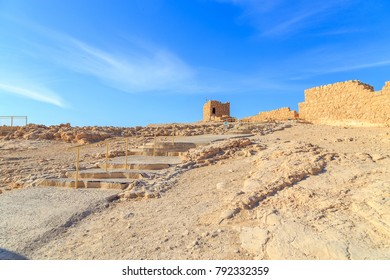 Ruins of Masada fort, ancient fortification in south part of Israel