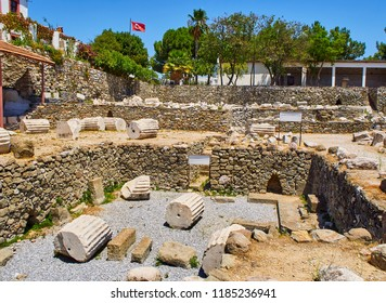 The ruins of the Mausoleum of Halicarnassus, one of the Seven Wonders of the World. Bodrum, Mugla Province, Turkey.