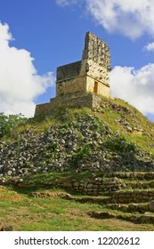 Ruins of maya in mexican Labna over blue sky