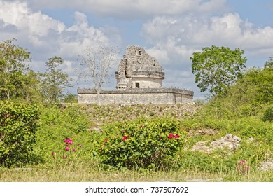 The ruins of the Mayan observatory at Chichen Itza