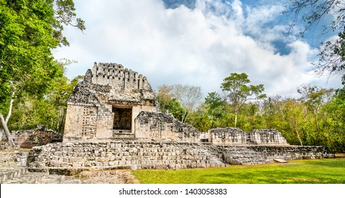 Ruins of a Mayan pyramid at the Chicanna Site in Campeche, Mexico