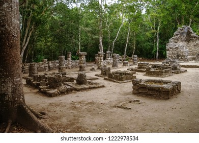Ruins of mayan Pyramid in Coba. Mexico.
