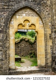 The ruins of the medieval buildings of the Trappist Cistercian Orval Abbey, Abbaye Notre-Dame dOrval, in Villers-devant-Orval, Province of Luxembourg, Belgium, detail