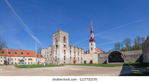 Ruins of medieval castle with church in Poltsamaa, Estonia