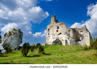 Ruins of medieval castle in Mirow, part of Trail of the Eagle's Nests, Polish Jurassic Highland, Silesia province, Europe